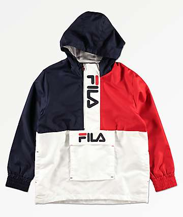 FILA Boys White, Red & Navy Windbreaker Jacket