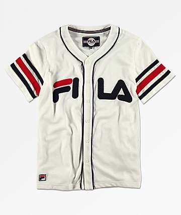 FILA Boys White Baseball Jersey