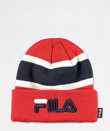 FILA Colorblock Red Foldover Beanie