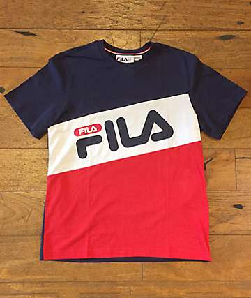 FILA Diagonal Navy, White & Red T-Shirt