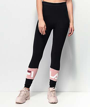 FILA Dina Black & Pink Leggings