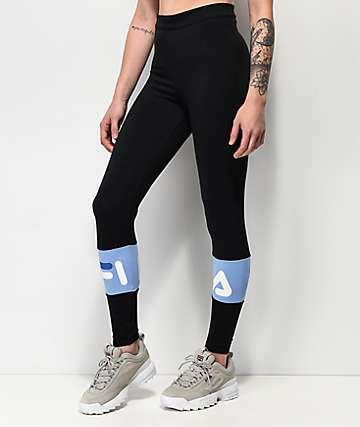 FILA Dina Black & Vista Blue Leggings