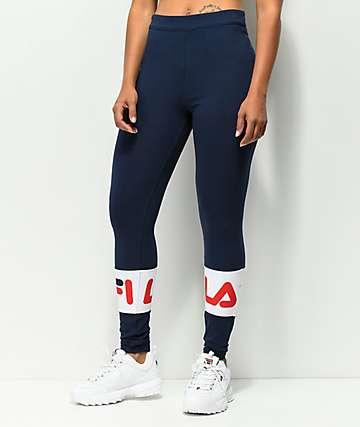 FILA Dina Peacoat leggings azules y blancos