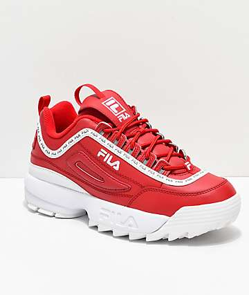 592845ea2f0a FILA Disruptor II Logo Taping Red Shoes