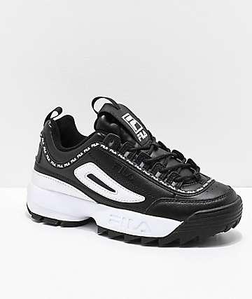 FILA Disruptor II Premium Black & White Shoes