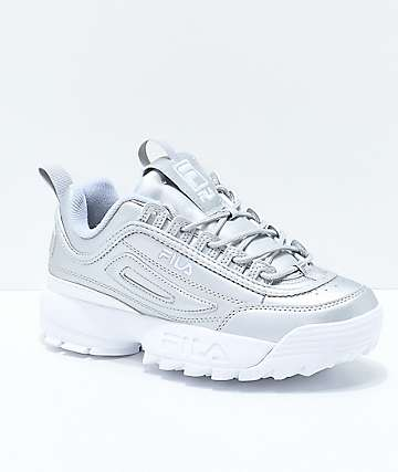 FILA Disruptor II Premium Metallic & White Shoes