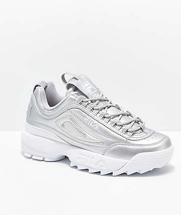 FILA Disruptor II Premium Metallic Silver Shoes