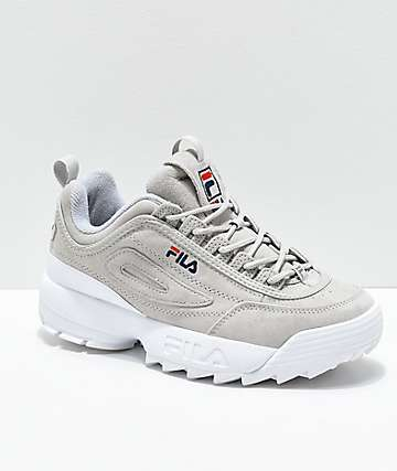 d8074f6a49e FILA Disruptor II Premium Suede Grey Shoes