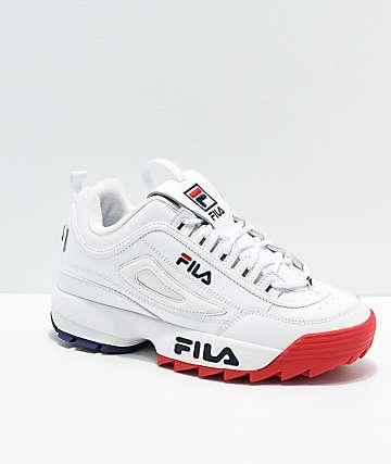 2a1a7a76be424 FILA Disruptor II Premium White, Red & Blue Shoes