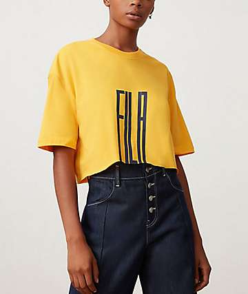 FILA Domenica Citrus & Navy Crop T-Shirt