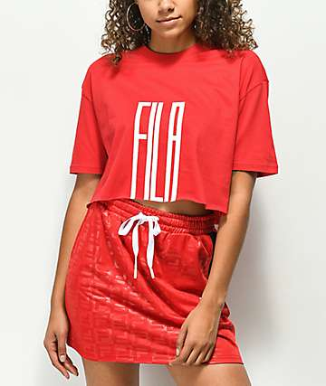FILA Domenica Red & White Crop T-Shirt
