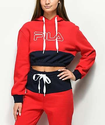 FILA Dora Red & Blue Cropped Hoodie