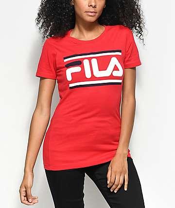 FILA Double Stripe Logo Red T-Shirt