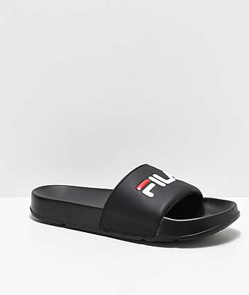 FILA Drifter Black, Red & White Slide Sandals