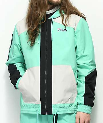 FILA Earl Cockatoo Mint, Black & Grey Windbreaker Jacket