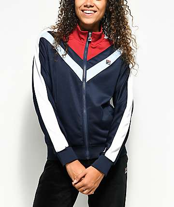 FILA Faith Navy & Burgundy Track Jacket