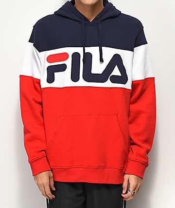 FILA Flaminio sudadera con capucha azul, rojo y blanco