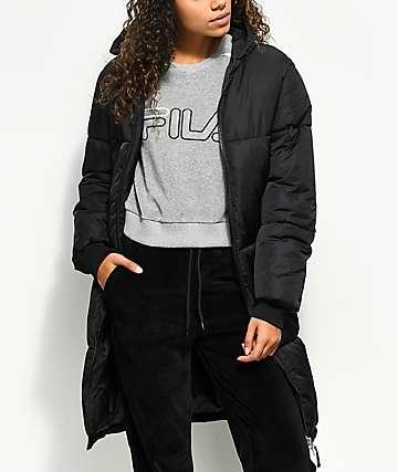 FILA Grace Black Long Puffer Parka Jacket