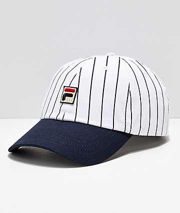FILA Heritage White & Navy Pinstripe Snapback Hat
