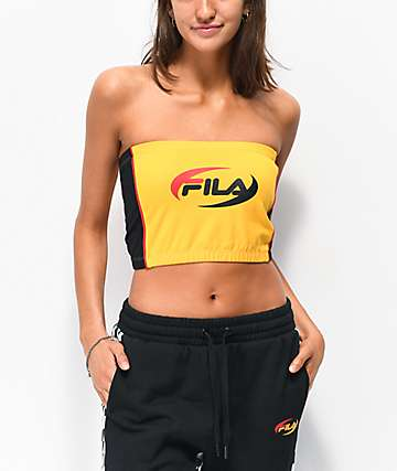 6a775c8728ef2 FILA Josefa Gold   Black Tube Top