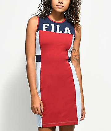 FILA Lacey Navy & Red Bodycon Dress