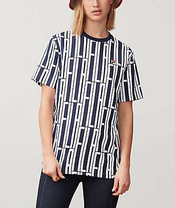 FILA Lia All Over Print Navy & White T-Shirt