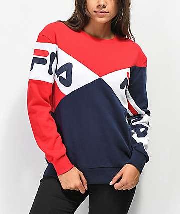 FILA Lidia Blue, Red & White Crew Neck Sweatshirt