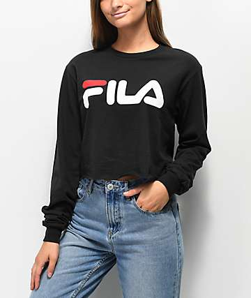 FILA Logo Black Long Sleeve Crop T-Shirt