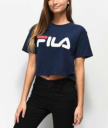 FILA Logo Navy Crop T-Shirt