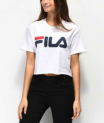 FILA Logo White Crop T-Shirt