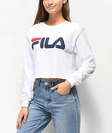 FILA Logo White Long Sleeve Crop T-Shirt