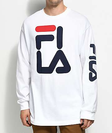 FILA Logo White Long Sleeve T-Shirt