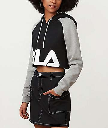 FILA Luciana Black, Grey & White Cropped Hoodie