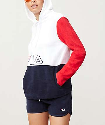 FILA Lux White, Red & Navy Hoodie