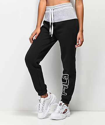 FILA Mara Black & Grey Jogger Sweatpants