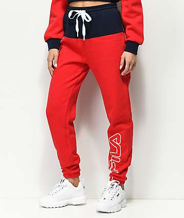 FILA Mara Red & Blue Jogger Pants