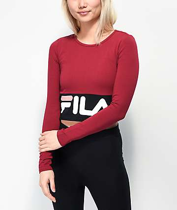 f58ac99c44114 FILA Maria Burgundy   Black Long Sleeve Crop Shirt