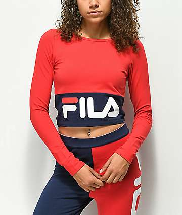 FILA Maria Red & Blue Long Sleeve Crop Shirt