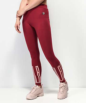 FILA Mariella Libetan Red & Pink Leggings