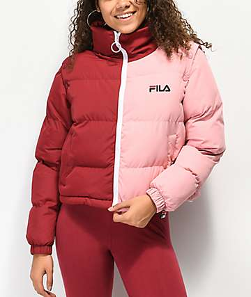 FILA Martina Red & Pink Snap Sleeve Puffer Jacket