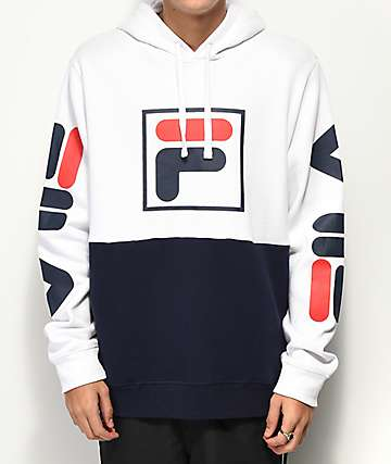 FILA Marzio Navy, Red & White Color Blocked Hoodie