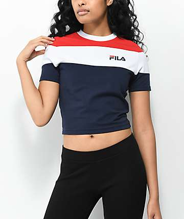 FILA Maya Red, White & Blue Color Block Crop T-Shirt