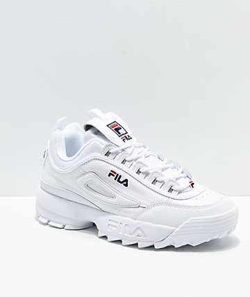 FILA Men's Disruptor II Premium White, Navy & Red Shoes