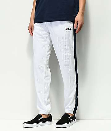 FILA Milo Tear Away White Mesh Track Pants