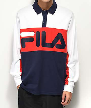 FILA Morris Rugby White, Red & Navy Long Sleeve T-Shirt