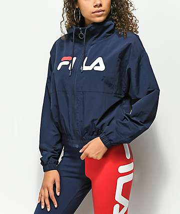 FILA Natalie Funnel Neck Navy Windbreaker