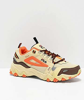 FILA Oakmont Trail Cream & Shock Orange Shoes