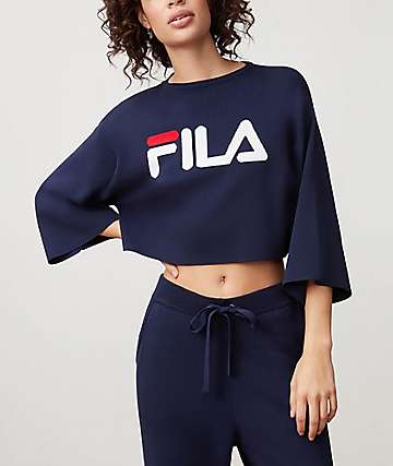 FILA Palmira Navy, White & Red Crop Sweater