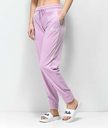 FILA Pink Velour Jogger Sweatpants