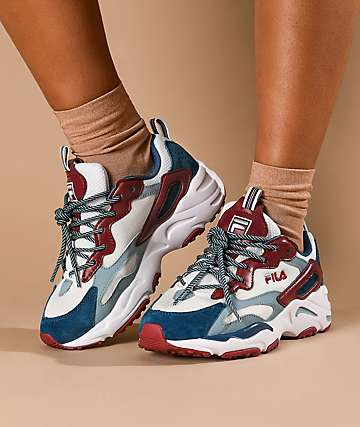 FILA Ray Tracer Blue & Maroon Shoes